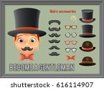 mustache bow glasses top hat... | Shutterstock .eps vector #616114907