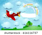 surreal landscape with airplane ... | Shutterstock .eps vector #616116737
