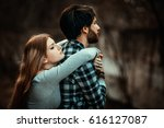 beautiful couple hugging... | Shutterstock . vector #616127087