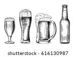 beer glasses and bottle. vector ... | Shutterstock .eps vector #616130987