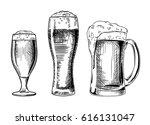 beer glasses. vector vintage... | Shutterstock .eps vector #616131047