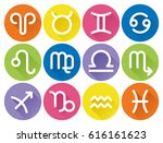 set of flat geometric zodiac... | Shutterstock .eps vector #616161623
