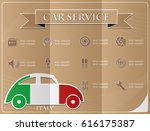 car service made from the flag... | Shutterstock .eps vector #616175387