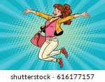 young woman jumping  lifestyle. ... | Shutterstock .eps vector #616177157