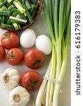 assortment of fresh vegetables... | Shutterstock . vector #616179383