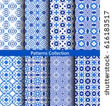 blue abstract flower patterns.... | Shutterstock .eps vector #616183517
