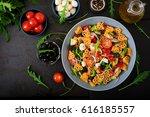pasta in the shape heart salad...   Shutterstock . vector #616185557