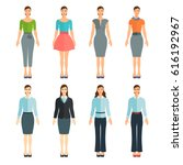young women in flat style.... | Shutterstock .eps vector #616192967