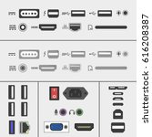 laptop and pc connectors icons...
