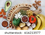 Stock photo potassium food sources as dried apricots raisins avocado cocoa bean pumpkin seeds dried 616213577