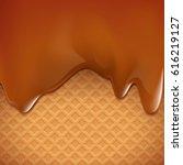 waffles with caramel. dessert... | Shutterstock .eps vector #616219127