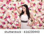 closeup portrait of a beautiful ... | Shutterstock . vector #616230443