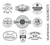 set of vintage tailor emblem... | Shutterstock . vector #616238273