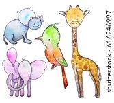 set of hand drawn watercolor... | Shutterstock . vector #616246997