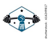 gym weightlifting and fitness... | Shutterstock .eps vector #616249817