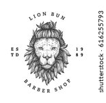 lion with a hipster haircut.... | Shutterstock .eps vector #616255793