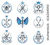 vintage weapon emblems set.... | Shutterstock .eps vector #616264043