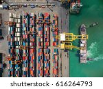 aerial view of cargo ship ... | Shutterstock . vector #616264793