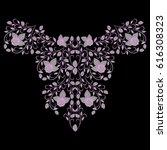 neckline rose design. floral... | Shutterstock .eps vector #616308323