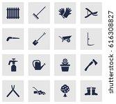 set of 16 household icons set... | Shutterstock .eps vector #616308827