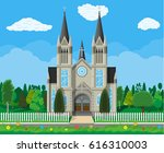 exterior of catholic or... | Shutterstock . vector #616310003