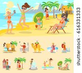happy people on vacation... | Shutterstock .eps vector #616331333