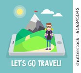 tourist in mountains. travel... | Shutterstock .eps vector #616345043