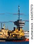 yellow icebreakers moored at...   Shutterstock . vector #616357073