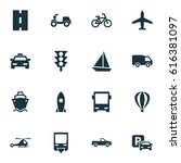 transport icons set. collection ... | Shutterstock .eps vector #616381097