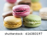 stacked high quality macaroons | Shutterstock . vector #616383197