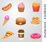 fast food icon set  detailed... | Shutterstock .eps vector #616383233