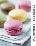stacked high quality macaroons | Shutterstock . vector #616383533