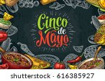 cinco de mayo lettering and... | Shutterstock .eps vector #616385927