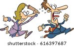 cartoon woman chasing man with... | Shutterstock .eps vector #616397687
