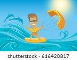 kitesurfing. man in sunglasses  ... | Shutterstock .eps vector #616420817
