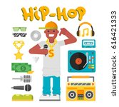 hip hop character musician with ... | Shutterstock .eps vector #616421333