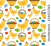 easter seamless pattern... | Shutterstock .eps vector #616421363
