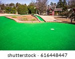 sunny weather at mini golf... | Shutterstock . vector #616448447