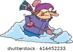 cartoon woman shoveling snow | Shutterstock .eps vector #616452233