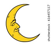 cartoon crescent moon with face ... | Shutterstock .eps vector #616457117