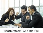 three happy young business... | Shutterstock . vector #616485743