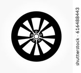 flat black wheel and tire with... | Shutterstock .eps vector #616488443