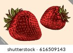 engrave isolated strawberry... | Shutterstock .eps vector #616509143