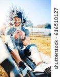 young muscular sportsman... | Shutterstock . vector #616510127