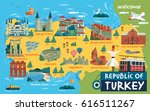turkey travel map and turkish... | Shutterstock .eps vector #616511267