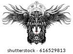 witch with skull crow on his... | Shutterstock .eps vector #616529813