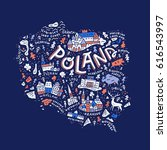the map of the poland with the... | Shutterstock .eps vector #616543997