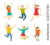cheerful kids jumping and... | Shutterstock .eps vector #616571783