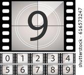 old film movie countdown frame. ... | Shutterstock .eps vector #616573247