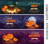 halloween banners with the... | Shutterstock .eps vector #616578803